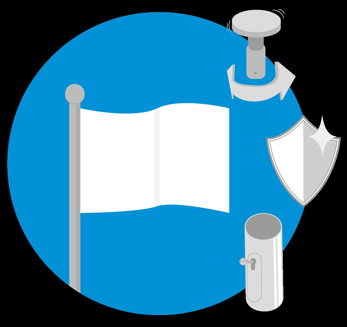 Standaard vlaggenmast - Cilindrisch Roterend Antidiefstal